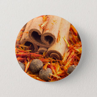 Kitchen spices and herbs close-up pinback button