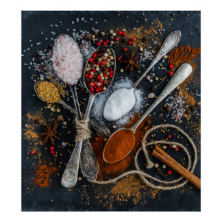 Kitchen spices and seasoning poster