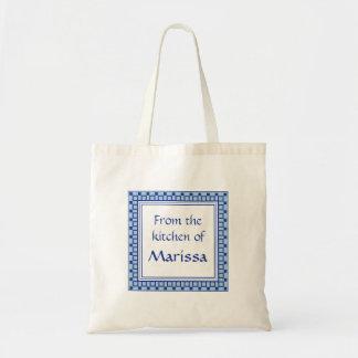 Kitchen Squares Blue Budget Tote Bag