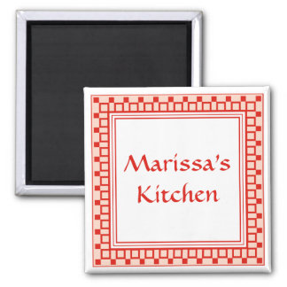 Kitchen Squares Red Magnet