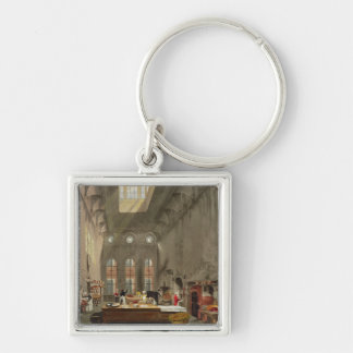 Kitchen, St. James's Palace, engraved by William J Silver-Colored Square Keychain