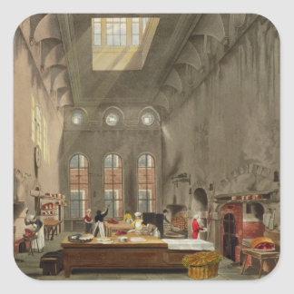 Kitchen, St. James's Palace, engraved by William J Square Sticker