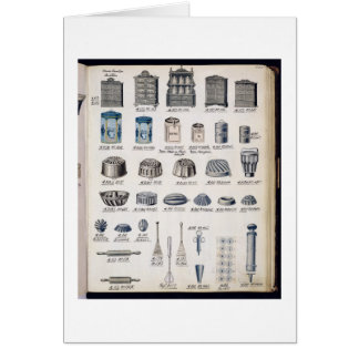 Kitchen storage and utensils from a trade catalogu card