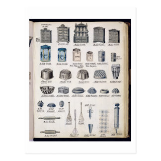 Kitchen storage and utensils from a trade catalogu postcard