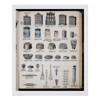 Kitchen storage and utensils from a trade catalogu poster