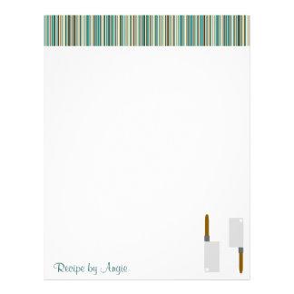 Kitchen Stripes Aqua Recipe Paper