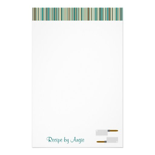 Kitchen Stripes Aqua Recipe Paper Stationery