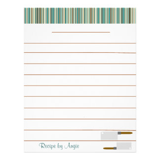 Kitchen Stripes Aqua Recipe Paper - With Lines