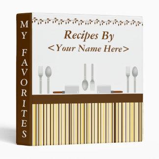 Kitchen Stripes Brown Recipe Binder