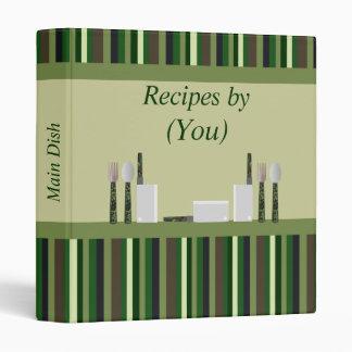 Kitchen Stripes Personalized Green Camo Recipe 3 Ring Binder