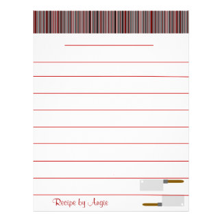 Kitchen Stripes Red Recipe Paper - WIth Lines