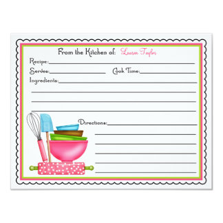 Kitchen Supplies Baking Cooking Recipe Cards