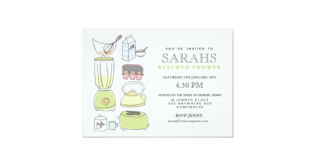 Kitchen tea bridal shower party invite zazzle for Bridal shower kitchen tea ideas fashion