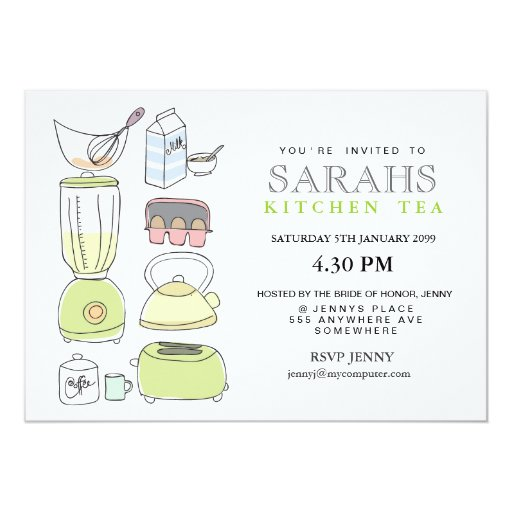 Kitchen Tea Quotes For Cards: Kitchen Tea Bridal Shower Party Invite