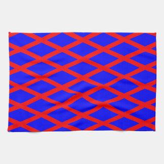 Kitchen / Tea Towel - Blue Base, Red diagonals