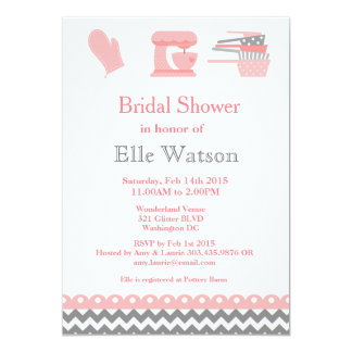 Kitchen Themed Bridal Shower Invitations, Custom Card