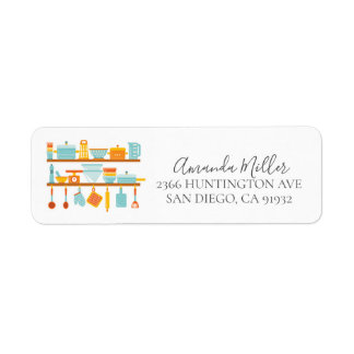 Kitchen Tools  Bridal Shower Return address Label