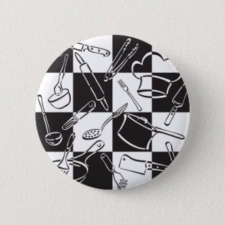 Kitchen Tools Checkerboard Pinback Button