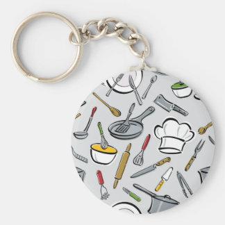Kitchen Tools Pattern Basic Round Button Keychain