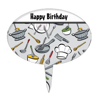 Kitchen Tools Pattern Cake Topper