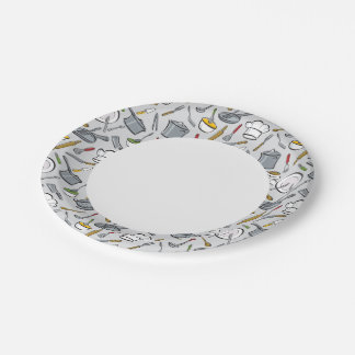 Kitchen Tools Pattern Paper Plate