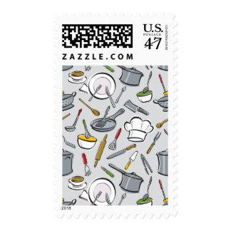 Kitchen Tools Pattern Postage