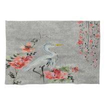 Kitchen towel  Asian flower crane bird