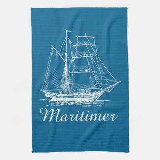 Kitchen towel  Blue sail boat ship Maritimer