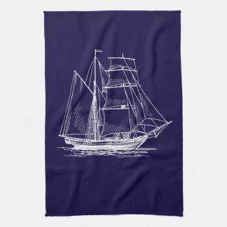 Kitchen towel  Blue sail boat ship nautical