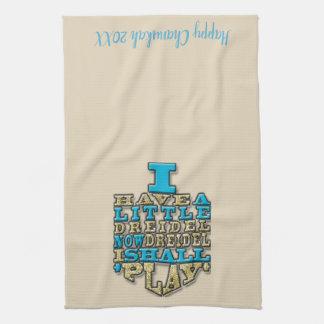 "Kitchen Towel ""Chanukah/Dreidel Play, Gold/Blue"""