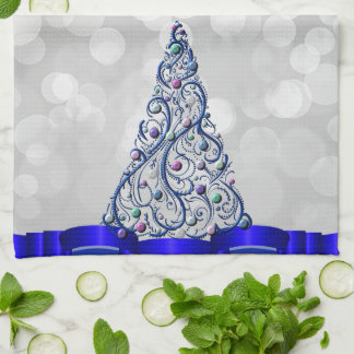 Kitchen Towel - Cobalt Swirls Tree