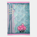 Kitchen Towel Cute Pink Cupcake Personalized