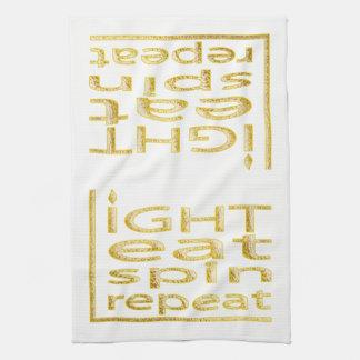 "Kitchen Towel ""Hanukkah-Light Eat Spin Repeat"""