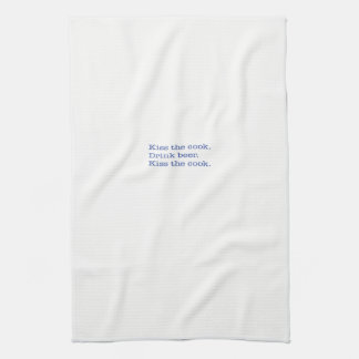 Kitchen Towel, Kiss the cook. Drink beer. Blue Hand Towel