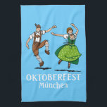"""Kitchen Towel Oktoberfest M&#252;nchen Dancing Couple<br><div class=""""desc"""">Quality Towel with an original german Design. A dancing Oktoberfest couple in Lederhosen and Dirndl outfit. Text elements can be edited easily. Design by Frank Ramspott,  Munich,  Germany.</div>"""