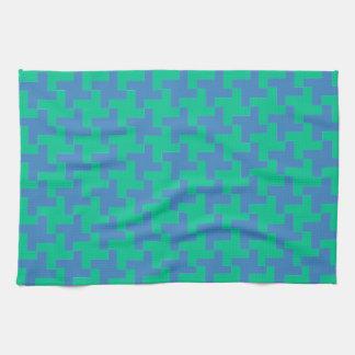 Kitchen Towel or Tea Towel Emerald, Blue Dogtooth