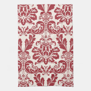 Kitchen Towel...red And White Damask Towel at Zazzle
