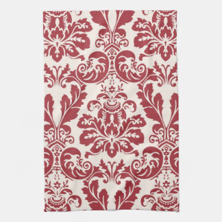 Kitchen Towel...red and white damask Towel