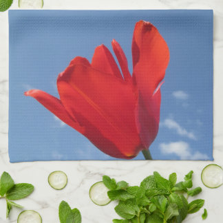 Kitchen Towel - Red Tulip Blue Sky