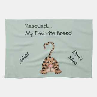 Kitchen towel saying Rescued my Favorite Breed Cat