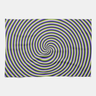 Kitchen Towel  Swirl in Green Blue and Violet