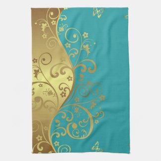 Kitchen Towel  Teal   Gold Swirls Hand Towels. Teal Kitchen Towels   Zazzle