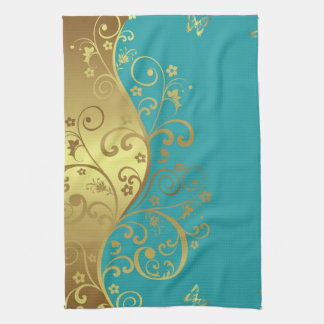 Kitchen Towel--Teal & Gold Swirls Kitchen Towel