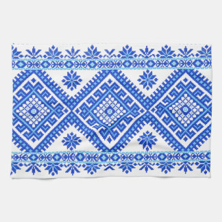 Kitchen Towel Ukrainian Cross Stitch Print Blue