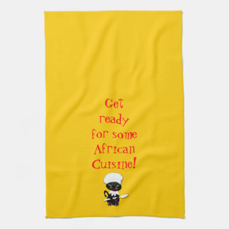 Kitchen Towel With African Kitty Kat Chef