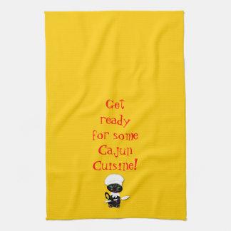 Kitchen Towel With Cajun Kitty Kat Chef
