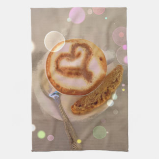 kitchen towel with coffee cup and biscotti image