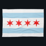 """Kitchen towel with Flag of Chicago, Illinois<br><div class=""""desc"""">Elegant patriotic kitchen towel with Flag of Chicago,  Illinois State,  United States of America. This product its customizable.</div>"""