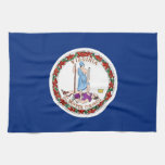 Kitchen towel with Flag of Virginia, U.S.A.