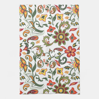 Kitchen Towel With Floral Decorative Patterns at Zazzle